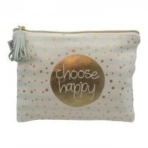 Mea Living Kosmetiktäschen Pom Pom Gold Choose Happy